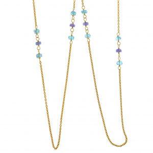 Collar Salvatore, compuesto por turmalinas azules y moradas, fabricado en plata con un baño de oro. 222C0064