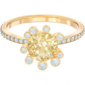 Anillo Swarovski, Olive con cristal en Dorado y baño de oro. lubeljoyeria.com