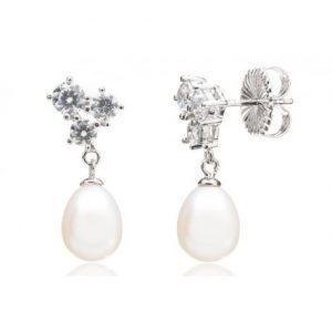 Pendiente Lubel, Lageais en plata con circonitas y una perla cultivada. 3901018. lubeljoyeria.com