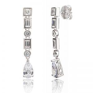 Pendiente Lubel, Hunyad circonitas con distintas formas geométricas, fabricado en plata con un baño de rodio, paladio y platino.