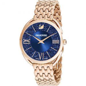 Reloj Swarovski, Crystalline Glam, esfera Azul y correa en oro Rosa 5475784. Lubeljoyeria.com