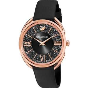 Reloj Swarovski, Crystalline Glam, Piel Negra 5452452. Lubeljoyeria.com