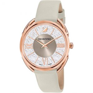 Reloj Swarovski, Crystalline Glam, Piel Gris 5452455. Lubeljoyeria.com