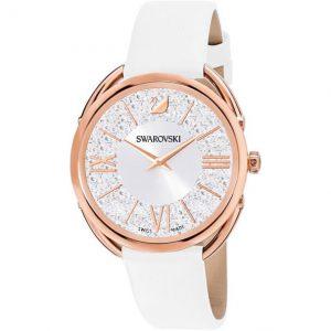 Reloj Swarovski, Crystalline Glam, Piel Blanca 5452459. Lubeljoyeria.com