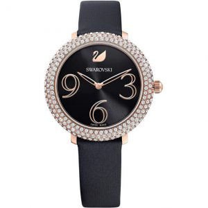 Reloj Swarovski, Crystal Frost, Correa de Piel Negra. 5484058. Lubeljoyeria.com