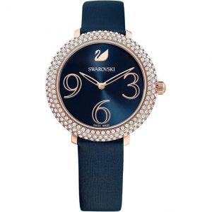 Reloj Swarovski, Crystal Frost, Correa de Piel Azul. 5484061. Lubeljoyeria.com