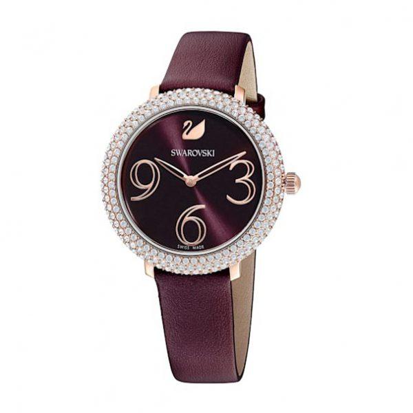 Reloj Swarovski, Crystal Frost, Correa de Piel Burdeos. 5484064. Lubeljoyeria.com