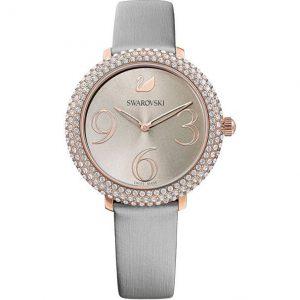 Reloj Swarovski, Crystal Frost, Correa de Piel Gris. 5484067. Lubeljoyeria.com