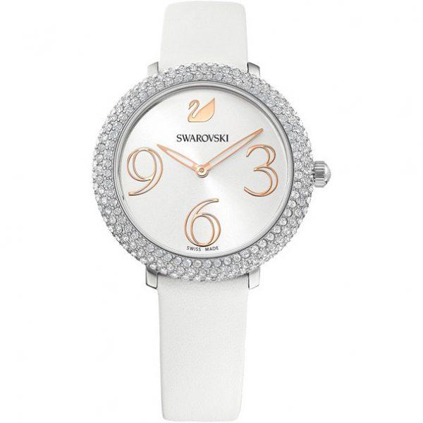 Reloj Swarovski, Crystal Frost, Correa de Piel Blanca. 5484070. Lubeljoyeria.com