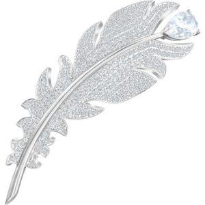 Broche Swarovski, Nice Blanco con baño de rodio y cristal pavé. 5495417. Lubeljoyeria.com