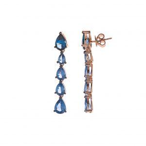 Pendiente Salvatore, Espinel Azul. En plata y baño de oro. 234A0051. Lubeljoyeria.com