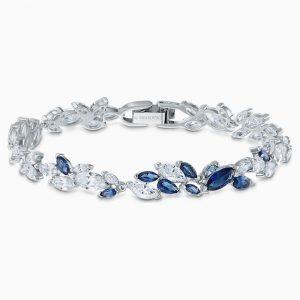 Pulsera swarovski, luison en azul con cristal en azul y transparente. 5536548. www.lubeljoyeria.com