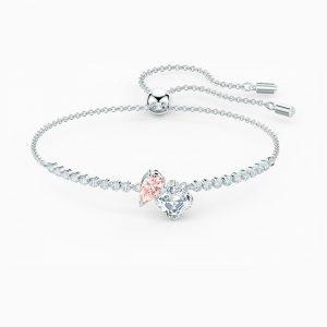 Pulsera Swarovski, Attract Soul Rosa con baño de rodio y cristales en rosa. 5517120. www.lubeljoyeria.com