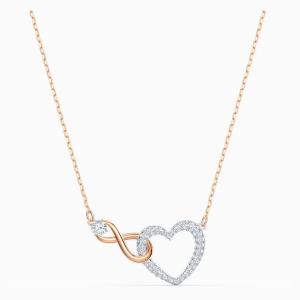 Collar Swarovski Infinity Heart, Bicolor, con baño de oro rosa y rodio. 5518865. www.lubeljoyeria.com