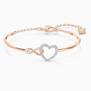 Pulsera Swarovski, Infinity Heart Rosa, con baño de oro rosa. 5518869. www.lubeljoyeria.com