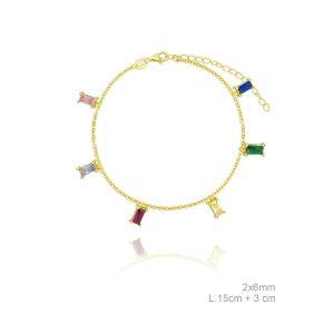 Pulsera Lubel, Destello Colores. Fabricada en Plata de 1ª Ley con un baño de oro de 18k. 7001052. www.lubeljoyeria.com