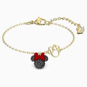 Pulsera Swarovski, Minnie. Fabricada con cristales negros y un baño de oro. 5566690. www.lubeljoyeria.com