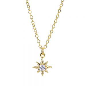 Colgante Lubel, Estrella Polar. Plata 1ª Ley 925 y baño de oro 18k. Circonitas. www.lubeljoyeria.com