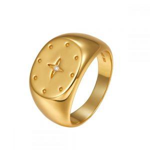 Anillo Lubel, Estrella. Plata 1ª Ley 925 y baño de oro 18k. Circonita. www.lubeljoyeria.com