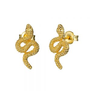 Pendiente Lubel, Snake. Plata 1ª Ley 925 y baño de oro 18k. www.lubeljoyeria.com