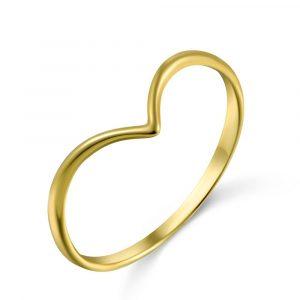 Anillo en forma de V Baño de Oro